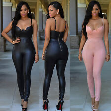 Sexy Womens PVC Faux Leather Dress Teddies Jumpsuit Long Pants Clubwear M/L Hot