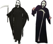 Mens Grim Reaper Scream Fancy Dress Costume with Mask Halloween Horror Outfit