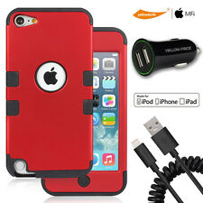Protective TPU Tough Armor Case F iPod Touch 5 6 Sync Data Cable USB Car Charger