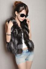 Real Silver Fox Fur Vest Jacket Coats Summer Women Sexy Bargain Waistcoat Gilet