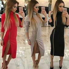 Sexy Women Casual Office Bodycon Evening Party Cocktail Zipper Pencil Mini Dress