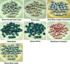 40pcs Picasso Tile Czech Glass Beads Two Hole Flat Square 6mm x 6mm