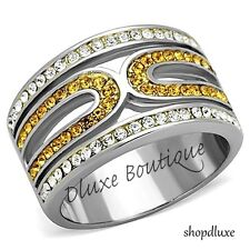 WOMEN'S CLEAR & CITRINE CZ STAINLESS STEEL WIDE BAND FASHION RING SIZE 5-10