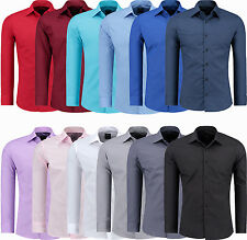 Mens Top Casual Formal Dress Shirts Long Sleeve Shirt Business Work Slim Fit NEW