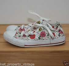 Converse trainers size 13 white pink red floral flowers roses girls