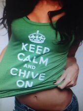 "the Chive *Authentic*""Keep Calm and Chive On"" Womens Green t-shirt KCCO S M L XL"