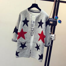 Fashion Star Pattern Cardigans Female Sweaters Long Sleeve Knitted Slim SweaterS