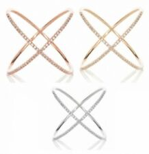 X Crisscross Ring 14K Rose Gold Yellow Solid Sterling Silver Russian CZ