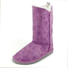 Girl's Lavender Faux Shearling Winter Boots Suede Snow Frozen Pattern Foldable