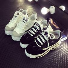 Fashion Womens Platform Creeper Sport Shoes Wedge Heel Lace Up Athletic Sneakers