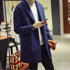 NEW Fashion Men's Breasted Retro Wool Blend Trench Jacket Coat Long Outwear