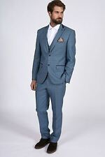Mens Marc Darcy Designer Blue Three Piece Suit with Velvet Contrast