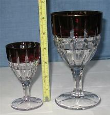 "EAPG CLEAR with RUBY STAIN   ""VERONA""   matching GOBLET & WINE GOBLET"