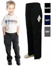 NEW BOYS KIDS TEFLON PULL UP SCHOOL TROUSERS AGES 1-8 YEARS IN BLACK/NAVY/GREY