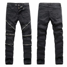 Fashion Mens Designed Straight Slim Fit Denim Jeans Biker Trousers Skinny Pants