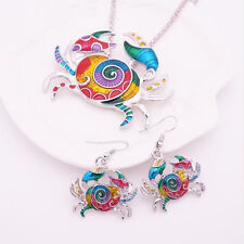 Fashion Silver Plated Gift Jewelry Sets Crab 1 sets Earring Necklace Colorful