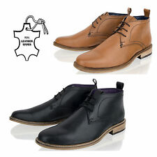 MENS LEATHER BOYS TAN CHUKKA DESERT MID LACE UP BLACK ANKLE BOOTS SHOES SIZE