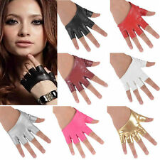 Women Faux Leather Half Finger Gloves Fashion Fingerless Mittens Cycling Gloves