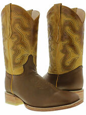 Mens classic light brown honey genuine leather square cowboy rodeo western boots