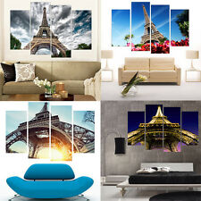 4 Piece Wall Art Canvas Prints Eiffel Tower Home Decor Painting for Living Room