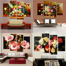4 Piece Flowers Decorative Picture Canvas Painting for Living Room Home Decor