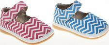Chevron Print Mary Jane Squeaky Shoes Canvas Leather  Pink, Blue, Size 1-7