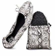 Silky Toes Women's Foldable Travel Ballet Flats Shoes with Matching Pouch