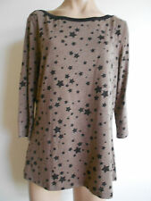 Womens Size 12 14  Brown Black Round Neck 3/4 Sleeve Tunic T Shirt Tops BNWOT