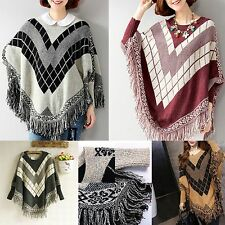 Vintage Women Batwing Top Poncho Knit Cardigan Tassel Sweater Cape Coat Outwear