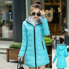 Fashion Womens Winter Warm Long Down Cotton Coat Jacket Hooded Full Zip Overcoat