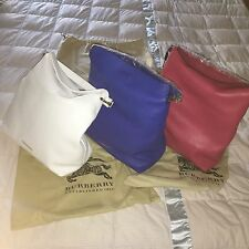 NWT Burberry London Grainy Leather Medium Cale Hobo Pink Blue White Bag Italy