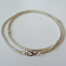 58cm Silver Plated Lobster Clasp Snake Chain Charm Necklace *FREE UK 1st Class*