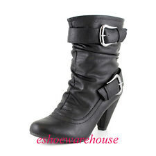 Cutie Mid Calf Round Toe Comfy Heel Slouch Boots Black