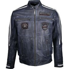Affliction Men's American Rebel Leather Moto Jacket    Pacific Blue   Large