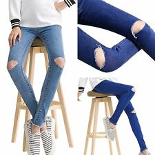 Maternity Pregnant Women Denim Skinny Ripped Pants Stretch Jeans Pencil Trousers