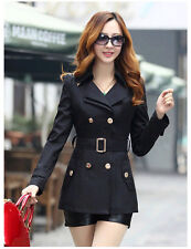 Women Slim Fit Blazer short Trench coat Spring double breasted jacket outwear C8