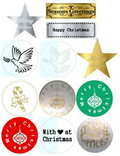Christmas Designer Stickers Labels Seals Gold Silver Red Green white x 50