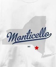 Monticello, New York NY MAP Souvenir T Shirt All Sizes & Colors