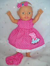 "Dolls clothes for 13"" My Little Baby Born Doll~PEPPA PIG~PINK SPOT DRESS~UNDIES"