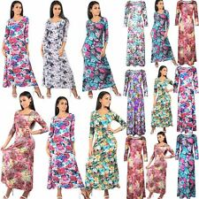 Womens 3/4 Sleeve Ladies Floral Print Flared Stretch Full Length Long Maxi Dress