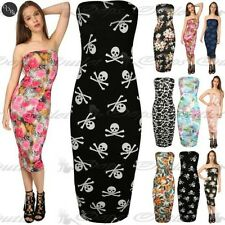Womens Bodycon Printed Ladies Boobtube Bandeau Strapless Plus Size Midi Dress