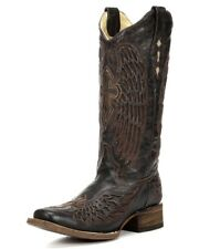 Corral Ladies Square Toe Western Cowboy Leather Boots Brown Wing & Cross A1999
