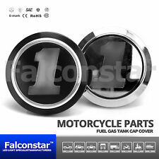 1x Gas Fuel Tank Cap Cover Black Silver Skull #1 for Harley Softail Dyna Touring