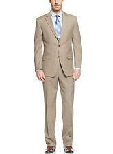 MICHAEL KORS MK Beige Plaid Suit 38 Short 38S Flat Front Pants 31W $495