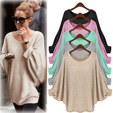 Womens Long Sleeve Oversized Pullover Sweater Batwing Baggy Jumper Tops Blouse
