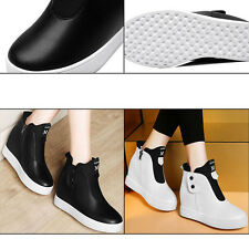 Women Wedge Hidden Heel Platform Shoes Side Zip PU Leather Casual Shoes Sneaker