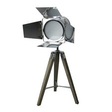 *Discounted Price* 70cm Retro Theatre Stage Chrome & Wooden Tripod Light Lamp