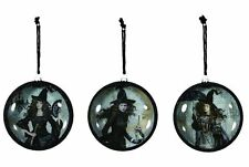 Nostalgic Style Black Magic Witch Woman Halloween Ornaments Fan Umbrella Owl