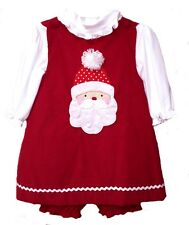 Girls Christmas Dress Santa Red Corduroy Girls Jumper Set Infant Toddler ZU NWT