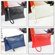 New Mock Croc Purse Cosmetic Bag Small Clutch Pouch Womens Wallets Gifts
